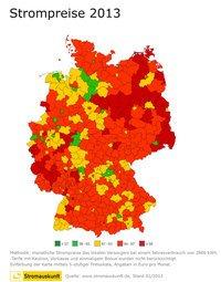 Strompreis-Atlas: Strom ist im Osten Deutschlands teurer.